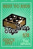 Color vintage toys shop banner Stock Image