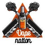 Color vintage vape, e-cigarette emblem Stock Photos