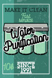 Color vintage water purification banner Stock Photography