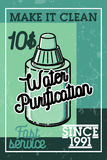 Color vintage water purification banner Stock Photo