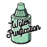 Color vintage water purification emblem Royalty Free Stock Image
