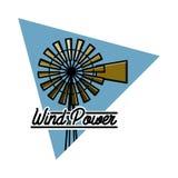 Color vintage wind power emblem Royalty Free Stock Photos