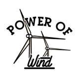 Color vintage wind power emblem Royalty Free Stock Images