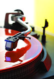 Color Vinyl Disc On Turntable Stock Images