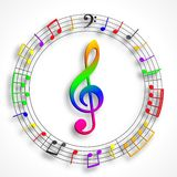 Color violin clef Stock Photography