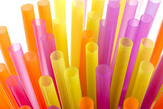Color vivid drinking straws Stock Images