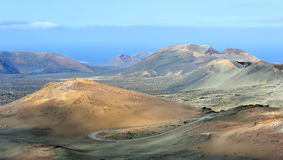 Volcanic landscape at Timanfaya National Park, Lanzarote Island, Stock Image
