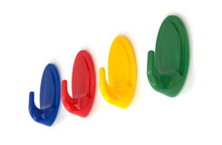 Color wall hook hangers Stock Photos