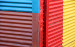 Color wall of the house from iron sheets. Caminito. Stock Photos
