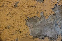 The color on wall peeling caused by water.  royalty free stock photo