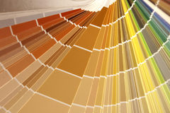Color Warm. The warm colors of a paint swatch book Stock Image