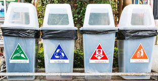 Color of waste icons with bins Stock Images