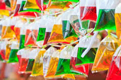 Color water in bags Stock Photo