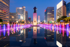 Color water fountain of Seoul City,South Korea Royalty Free Stock Photo