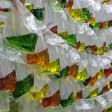 Color water in the translucent plastic bags Stock Photo