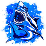 Color watercolor aggressive shark with open mouth Royalty Free Stock Photo