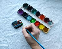 Painting. Color a watercolor a truck figure Royalty Free Stock Photography