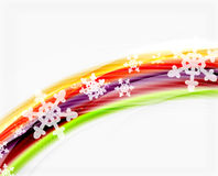 Color wave line with snowflakes, winter vector business template Royalty Free Stock Image