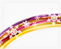 Color wave line with snowflakes, winter vector business template Royalty Free Stock Photo