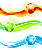 Color waves and globes Stock Image