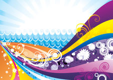 Color waves vector. Illustration composition over a color background Royalty Free Stock Photography