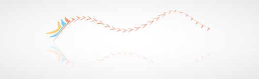 Color wavy arrows with reflection Royalty Free Stock Photography