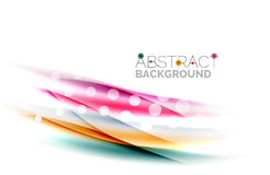 Color wavy lines with light shiny effects. Abstract background template Stock Photography