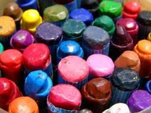 Color wax crayons. Detail photo of the color wax crayons background Royalty Free Stock Images