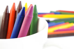 Color wax crayons on background Royalty Free Stock Photo