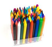 Color wax and oil pencils. Vertically in a transparent plastic support Royalty Free Stock Photography