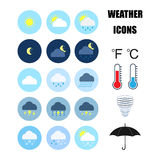 Color Weather icons set. Royalty Free Stock Image