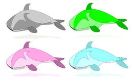Color whales. Set of cartoon whales different colors Royalty Free Illustration