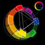 Color Wheel. Three dimensional color wheel on black background. Vector Illustration royalty free illustration