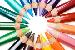 Color Wheel. Colored pencils forming a color circle. White background
