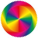 Color wheel as a sun with many colors stock image