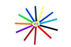 Color Wheel. Colored pencils forming a color circle. White background Stock Image