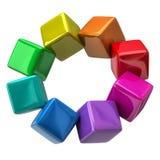 Color wheel of colorful cubes. 3d illustration of color wheel of colorful cubes Royalty Free Stock Photos