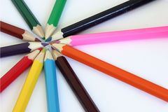 COLOR WHEEL CRAYONS Stock Images