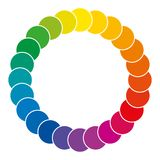 Color wheel made of circles. Rainbow colored circles showing mixed complementary colors that are used in art and for paintings. Color synthesis and theory Royalty Free Stock Photo