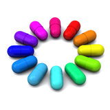 Color wheel of medical pills, 3d. Color wheel made of medical pills, 3d image Stock Photo