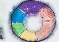 Color wheel with pastel pencils Royalty Free Stock Photos