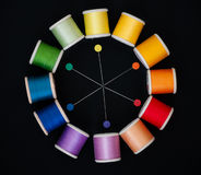 Color wheel in sewing threads and pins. Representative color wheel of sewing threads and sewing pins on a black background Stock Images