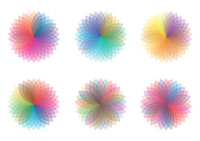 Color wheels. Colorful wheels of color isolated on white Stock Image