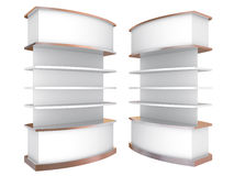 Color white curve shelves Stock Photography