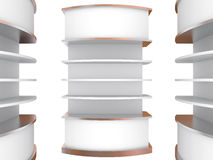 Color white curve shelves Royalty Free Stock Photos