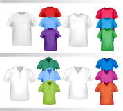 Color and white t-shirt design template. Stock Photos