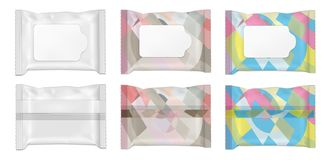 Color and white wet wipes package with flap royalty free illustration