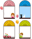 Color windows. Illustration of the girl and boy in Color window Stock Photo