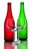 Color wine bottles and wine glasses Royalty Free Stock Images