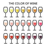 The color of wine - different shade of white, rose and red wine icons set Stock Photography